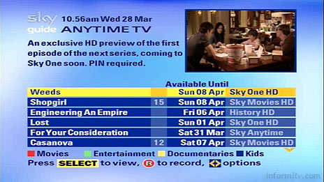 Sky Anytime menu for push video-on-demand service. Screenshot courtesy Paymedia.