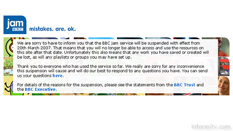 The BBC Jam national curriculum service has been suspended following complaints to the European Commission.