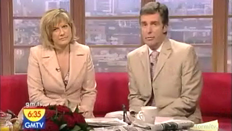 GMTV presenters Penny Smith and John Stapleton apologise to viewers over call-in competition irregularities. Screenshot: GMTV.