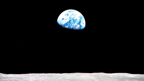 Earthrise as seen from Apollo 8 in 1968. The Japanese SELENE lunar orbiter due to launch in 2007 will contain two HD video cameras capable of relaying high-definition video images from the moon to earth. Image: NASA.