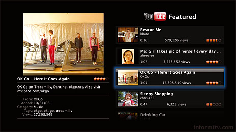 Apple adds YouTube to Apple TV.