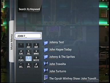 Verizon FiOS Interactive Media Guide search interface.