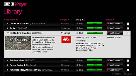 The BBC iPlayer library lists downloaded programmes which expire after 30 days.