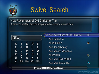The Amazon Unbox interface also makes use of the TiVo Swivel Search feature, allowing users to step from one programme to another based on common characteristics.