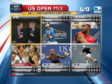 The US Open Mix screen on the USA Network on DIRECTV.