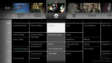 OpenTV Mondrian concept interface for an interactive programme guide.