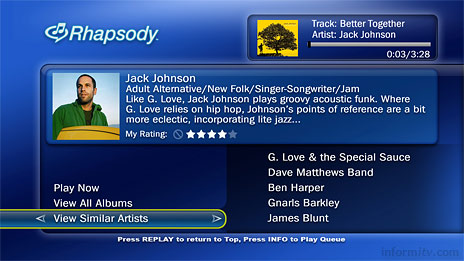 TiVo adds Rhapsody to deliver music on television.