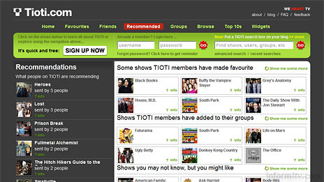 Tioti, the social television network site.