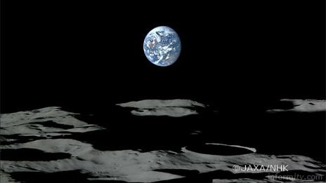 Earthrise as seen from the Japanese lunar probe Kaguya. Image: JAXA/NHK.