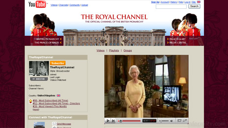 The Royal Channel on YouTube carries the Queen's Christmas message. The video picture is distorted because it has been encoded at the incorrect aspect ratio.
