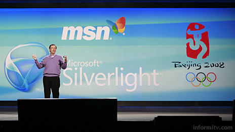 Bill Gates, the chairman of Microsoft, announcing a partnership with NBC to deliver the Olympics online using Silverlight.