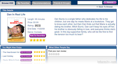 SeaChange Affinity provides a web portal through which users can select, rate and recommend programmes.