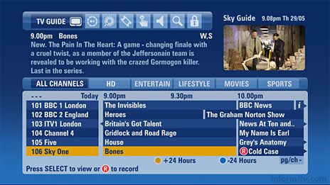 BSkyB is currently testing a new improved electronic programme guide.