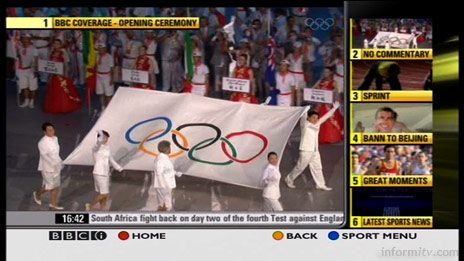 The BBCi Olympics interactive television coverage offers a choice of viewing.