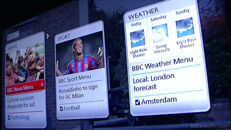 Concept demonstration of a BBC interactive television application using the Microsoft Mediaroom Presentation Framework.