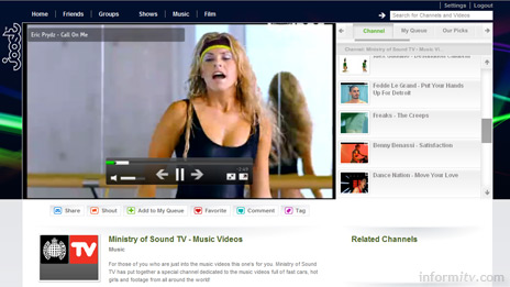 The Joost browser-based interface then acts like any other online video service.