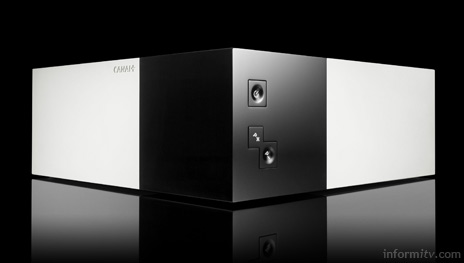 The +Le Cube set-top box is strikingly geometric in design and combines broadcast and broadband services with a high-definition digital video recorder.