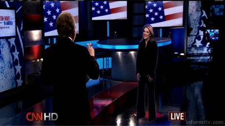 CNN correspondent Jessica Yellin is beamed into the studio on election night.