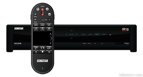 The latest EchoStar digital video recorder integrages support for remote viewing using Sling technology and comes with its own innovative touch pad remote control.