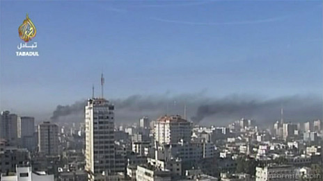 Still image of explosions in Gaza City from Al Jazeera video footage released under Creative Commons licence.