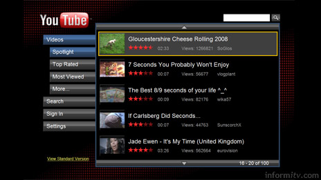 YouTube XL is designed for viewing with a remote control.