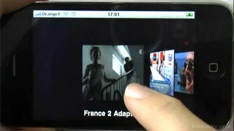 Envivio iLiveTV demonstration showing cover flow channel browsing.