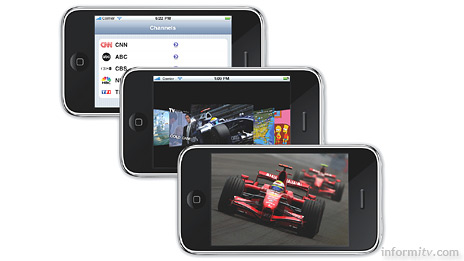 Envivio iLiveTV delivers live streaming television channels to the iPhone browser with the latest 3.0 operating system update.