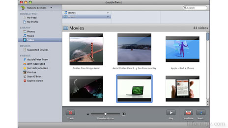 The doubleTwist software looks a little bit like the Apple iTunes application, but supports a wider range of devices.