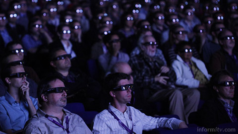 Viewers watching a 3D presentation at the IBC Awards in Amsterdam. Photo: IBC.
