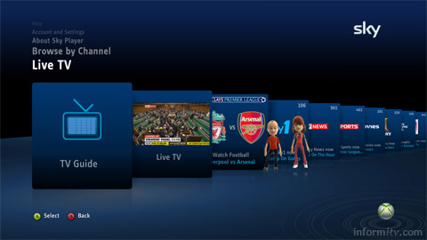 Sky programming will be available on the Microsoft Xbox.