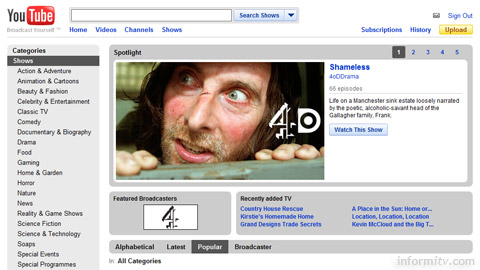 The YouTube shows section features full-length programmes from providers such as Channel 4.