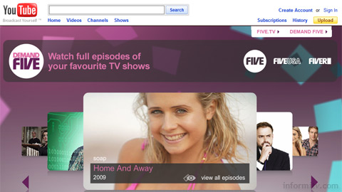 YouTube adds shows from channel Five in the United Kingdom to the range of full-length programming available on its platform.