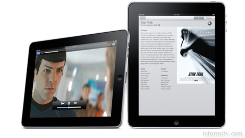 Apple iPad showing video. The 1024x768 display with its 4:3 aspect ratio falls short of high-definition. Photo: Apple.
