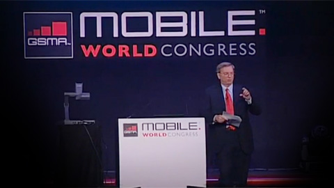 Eric Schmidt, the chairman and chief executive of Google at the Mobile World Congress, as shown on YouTube.