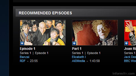 The recommendations of the MSN Video Player.