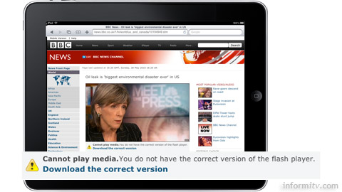 Apple iPad users are unable to view BBC news, sport or weather videos.