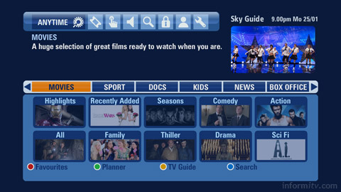 Sky Anytime+ integrates video-on-demand rogramming provided over broadband with the electronic programme guide.