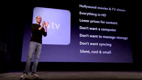 Apple chief executive Steve Jobs presents user requirements based on learning from the previous Apple TV product. Source: Apple
