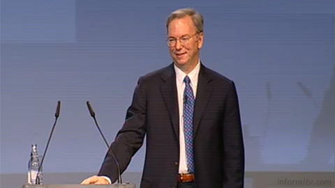 Google chairman and chief executive Eric Schmidt giving a keynote presentation at IFA in Berlin.