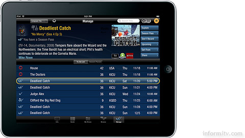 The TiVo app for the Apple iPad works with TiVo Premiere and Premiere XL retail products.