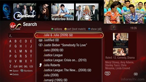 The search screen on the TiVo powered digital video recorder from Virgin Media.