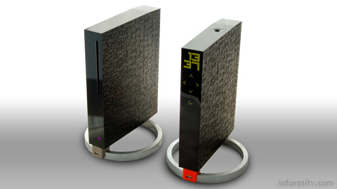 The Free Revolution server and player boxes have been designed by Philippe Starck.