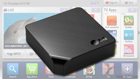 LG ST600 SmartTV Upgrader companion box adds network functions to existing television screens.