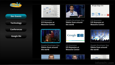 Google TV templates allow developers to create web sites that are optimised for use with a remote control.