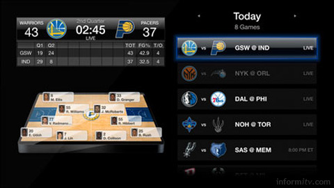The NBA application on Apple TV offers live basketball.