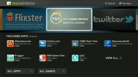 Applications in the Android Market as seen on Google TV.
