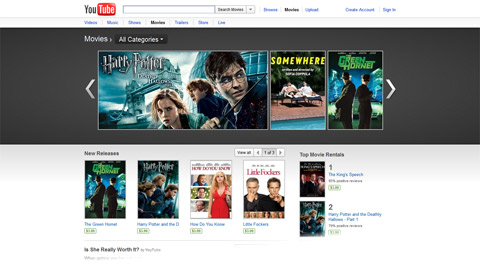 The YouTube movies page offers mainstream titles for rental, but currently only in the United States.