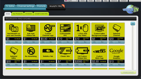WorldTV adopts a freemium model with an online store for add-on options.