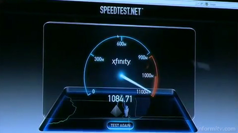 Comcast Xfinity speed test showing actual transfer rates of over a billion bits per second