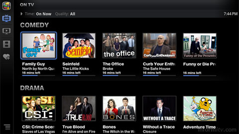 Google TV menu for television and movies.
